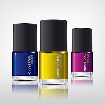 Esmalte de uñas colorido realista mock up