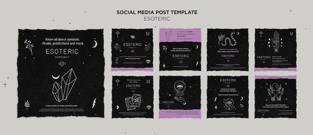 Esoterische ambachtelijke instagram-postverzameling