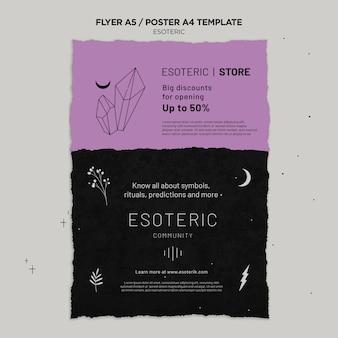 Esoterische ambachtelijke verticale poster sjabloon