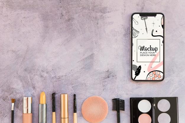 Espacio de copia de maquillaje de maqueta de vista superior