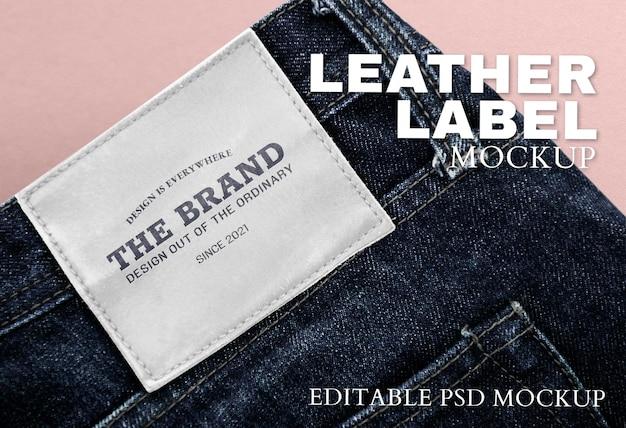 Espacio de diseño en la etiqueta de la marca jeans