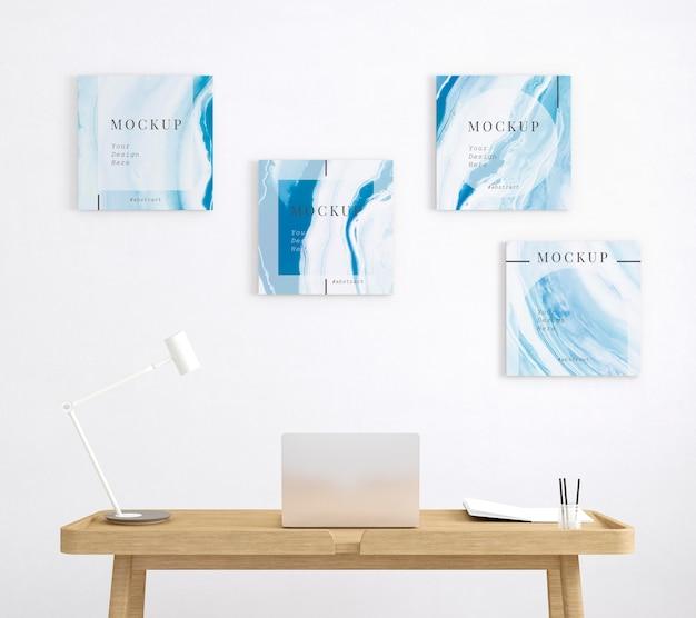 Espacio de trabajo con cuatro plantillas de cuadros minimalistas