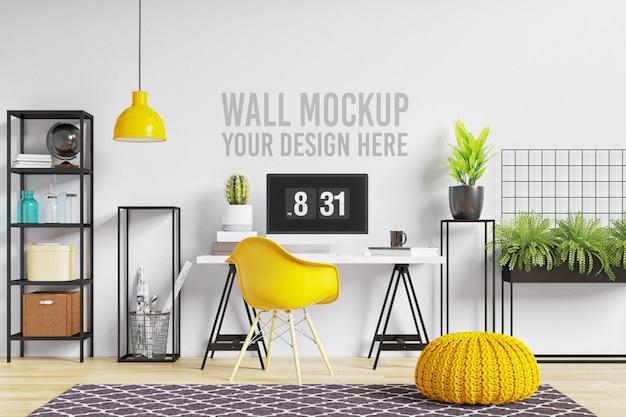 Espacio de trabajo interior de hermosa maqueta de pared en estilo escandinavo blanco y amarillo