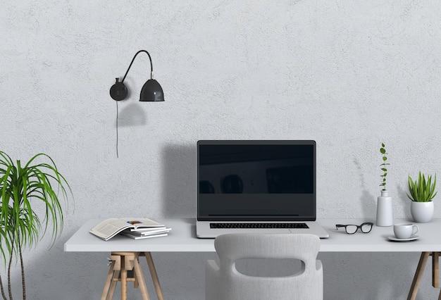Espacio de trabajo interior moderno salón con computadora portátil