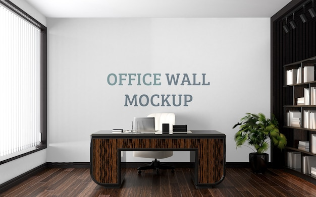 Espacio de trabajo con maqueta de pared de estilo rústico