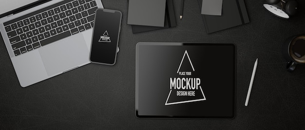 Espacio de trabajo de renderizado 3d con maqueta de tableta digital y teléfono