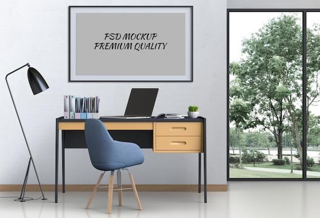 Espacio de trabajo de sala de estar interior con computadora portátil y maqueta cartel en blanco