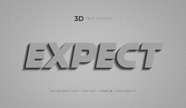 Espere plantilla de efecto de estilo de texto 3d