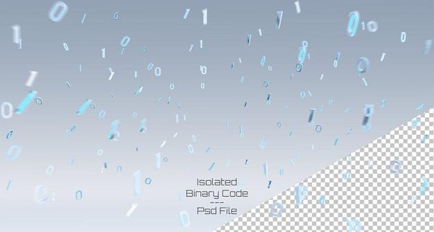 Esplodendo 3d rendering codice binario con il numero uno e zero isolato su grigio