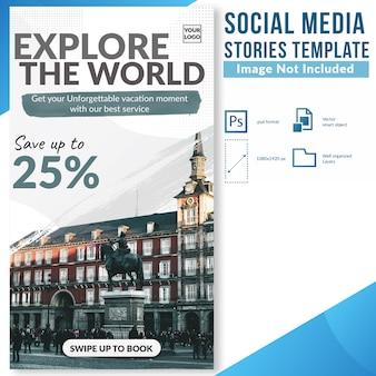 Esplora il mondo sconto speciale offerta modello di banner web storie di social media