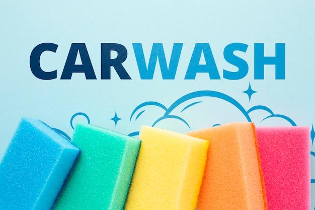 Esponja de limpieza establece el concepto de lavado de autos