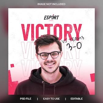 Esport overwinning wedstrijddag instagram post getextureerde bannersjabloon