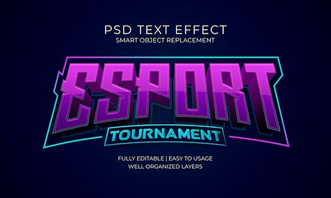 Esport torneo logo texto efecto