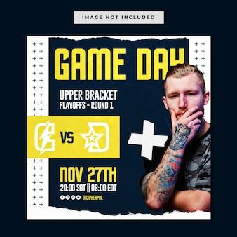 Esports gameday toernooi social media instagram template