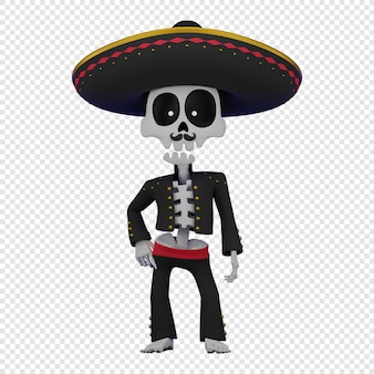 Esqueleto en un traje masculino mexicano con un sombrero el concepto de la fiesta de el da de muertos
