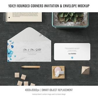 Esquinas redondeadas invitación y sobre maqueta