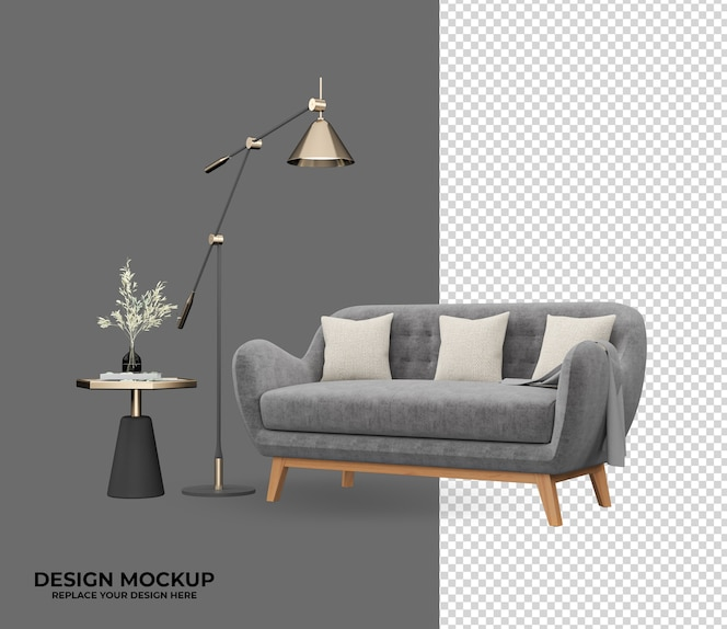 Establecer sofá en renderizado con diseño interior de lujo