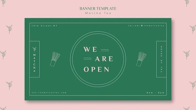 Estamos abiertos plantilla de banner de tienda de té matcha