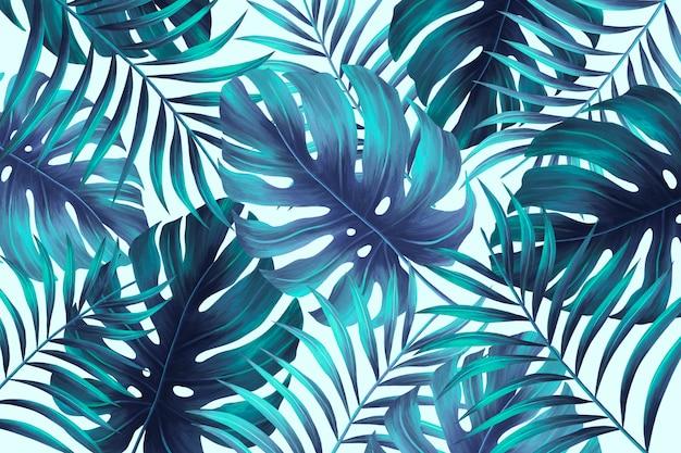 Estampado de verano pintado a mano con hojas tropicales.