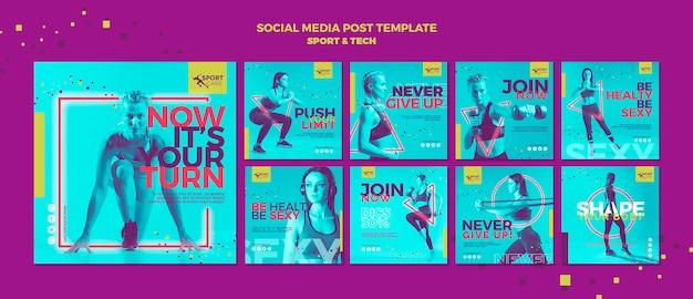 Estar saludable en forma de publicación en redes sociales