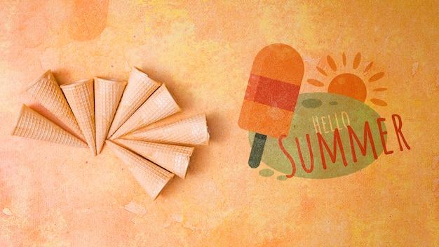 Estate scritta sfondo con elementi estivi