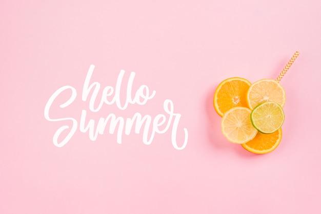 Estate scritta sfondo con frutta