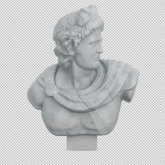 Estatua isométrica 3d render aislado