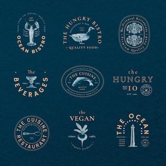 Esthetische badgesjabloon psd voor restaurantset, geremixt van kunstwerken in het publieke domein