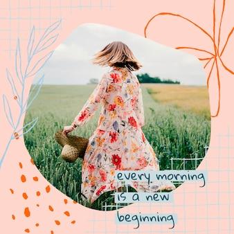 Esthetische bloemen bewerkbare sjabloon psd social media post met motiverende quote en foto