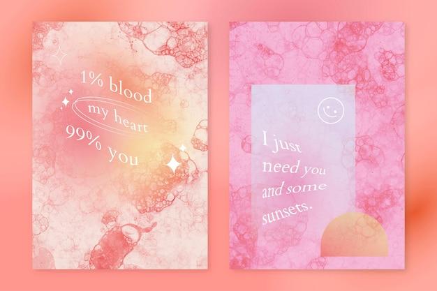 Esthetische bubbelkunstsjabloon psd met liefdescitaat poster dubbele set