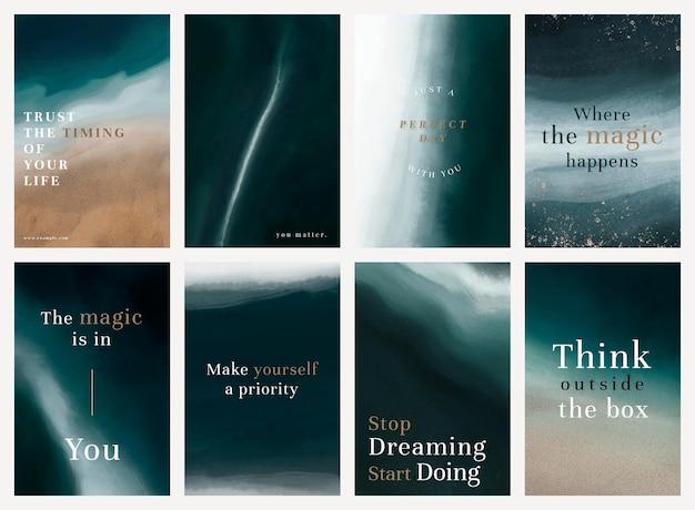 Esthetische positieve citaten psd-sjabloon aquarel oceaan set