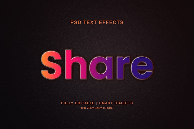 Estilista de capa de efecto de texto moderno degradado