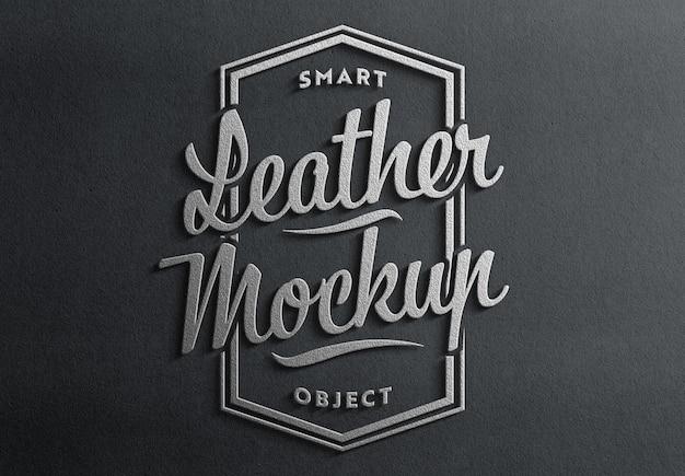 Estilo 3d de logotipo de cuero con maqueta de sombra