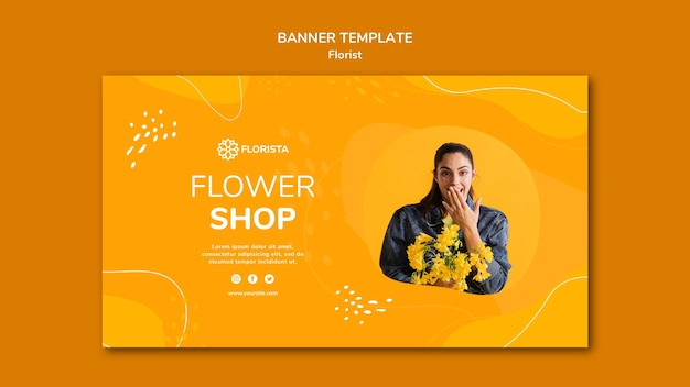 Estilo de banner de concepto de floristería
