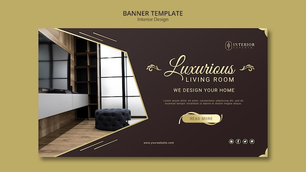 Estilo de banner de diseño de interiores