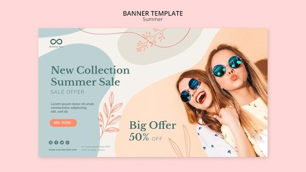 Estilo de banner de venta de colección de verano
