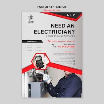 Estilo de cartel de servicios eléctricos.