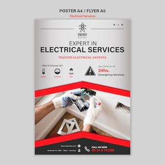 Estilo de cartel de servicios de expertos eléctricos.