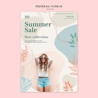 Estilo de cartel de venta de colección de verano