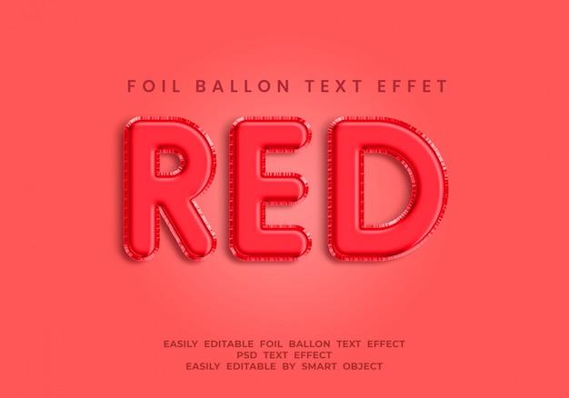 Estilo de efecto de texto de globo de papel de color rojo