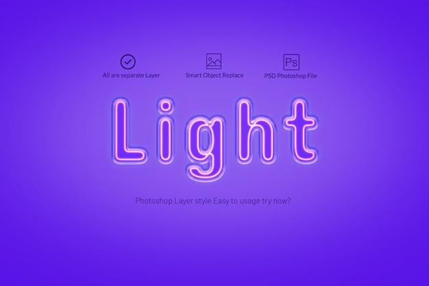 Estilo de efecto de texto de luz de neón