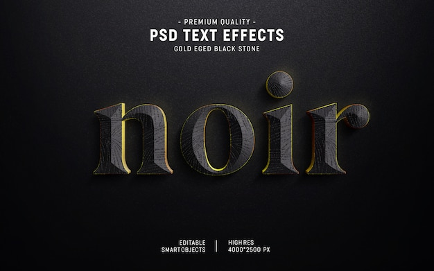 Estilo de efecto de texto de piedra de borde de oro 3d