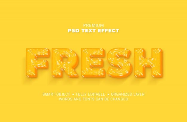 Estilo de efecto de texto realista de plástico de vidrio de agua 3d