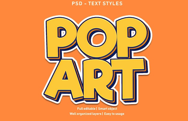 Estilo de efectos de texto de arte pop editable psd