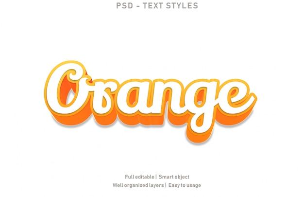 Estilo de efectos de texto naranja