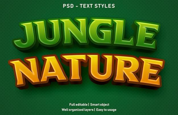 Estilo de efectos de texto de la naturaleza de la selva premium editable