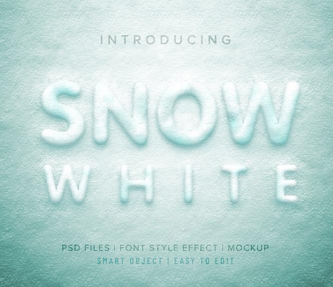 Estilo de fuente 3d blanco como la nieve