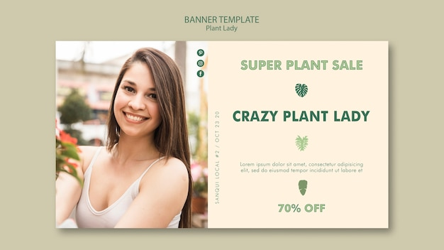 Estilo de plantilla de banner de lady de planta
