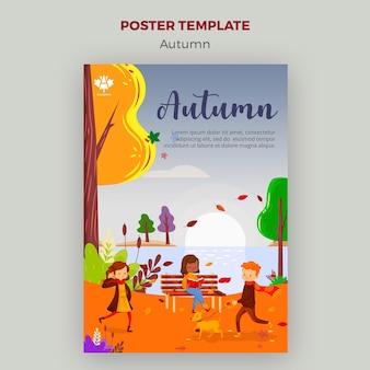 Estilo de plantilla de póster de concepto de otoño