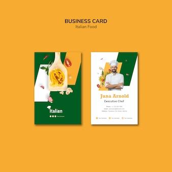 Estilo de tarjeta de visita de comida italiana